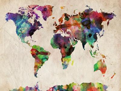 World Map Urban Watercolour-Michael Tompsett-Art Print