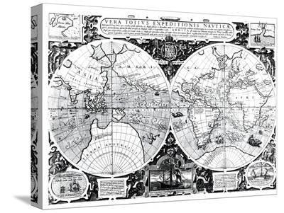 World Map; Vera Totius Expeditionis Nauticae--Stretched Canvas Print