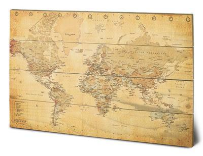 World Map (Vintage Style)--Wood Sign