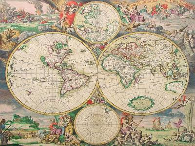 World Map Vintage-Indigo Sage Design-Art Print
