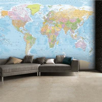 World Map Wallpaper Mural--Wallpaper Mural