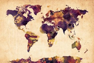 World Map Watercolor-Michael Tompsett-Art Print