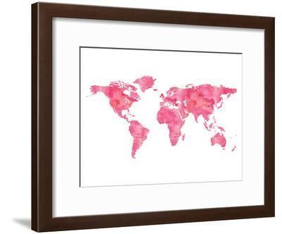 World Map Wc Pink-Amy Brinkman-Framed Art Print