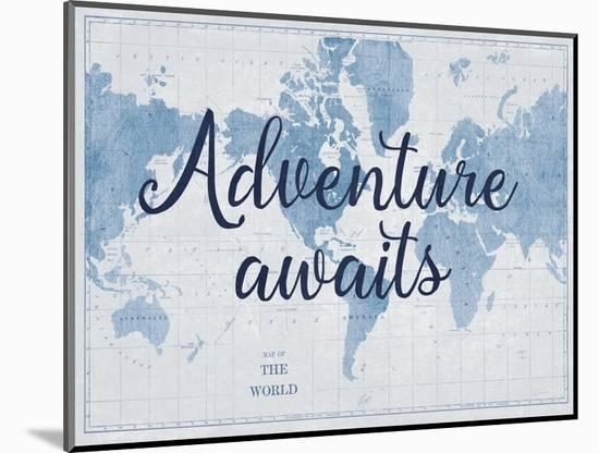 World Map White and Blue v2-Sue Schlabach-Mounted Art Print