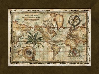 World Map with Globe--Art Print