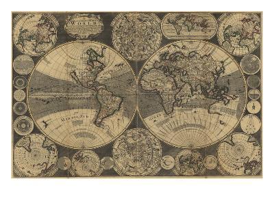 World Map with Planets-W. Godson-Art Print