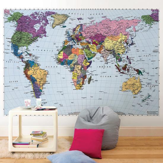 World Map--Wallpaper Mural