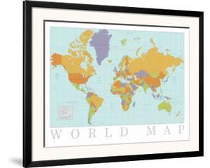 Beautiful World Maps Artwork For Sale Posters And Prints Artcom - Artsy world map poster