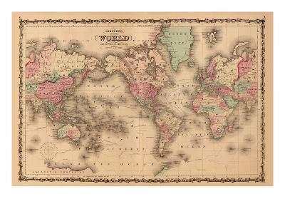 World Map-A^J^ Johnson-Art Print