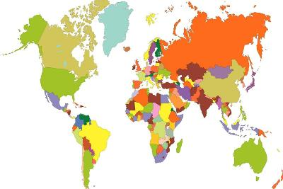 World Map-tony4urban-Art Print
