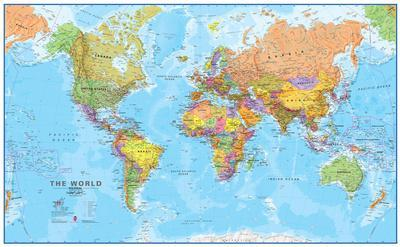 World Map Print World MegaMap 1:20 Wall Map, Laminated Educational Poster