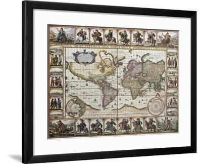 World Old Map. Created By Nicholas Visscher, Published In Amsterdam, 1652-marzolino-Framed Art Print