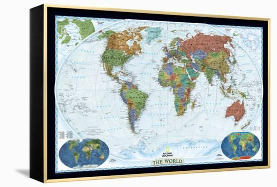 World Political Map, Decorator Style Framed Canvas Print by National on