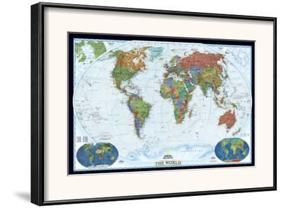 National Geographic World Political Map.World Political Map Decorator Style Framed Art Print By National