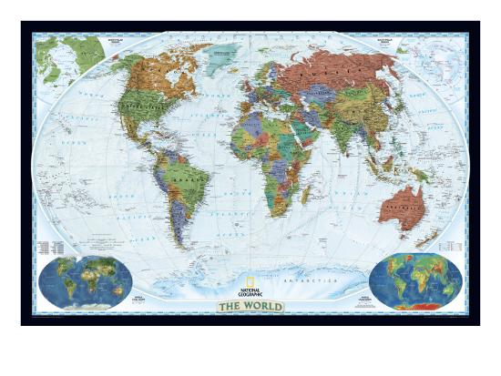 National Geographic World Political Map.World Political Map Decorator Style Art Print By National