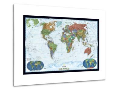 World Political Map, Decorator Style-National Geographic Maps-Metal Print