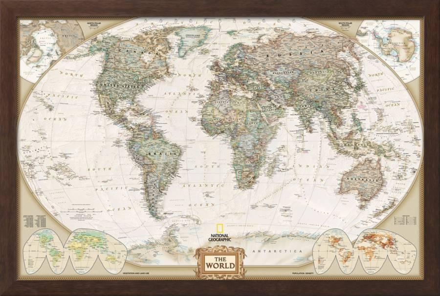 World Political Map Executive Style Framed Art Print By Art Com