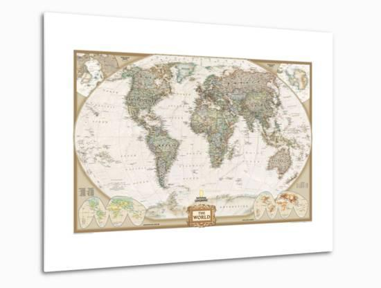 World Political Map, Executive Style Metal Print by National Geographic on europe shaded on a world map, national geographic world mural map, national geographic language world map, national geographic world map wallpaper, national geographic framed world map, national geographic large world map,