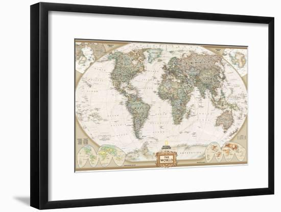 World Political Map, Executive Style-National Geographic Maps-Framed Premium Giclee Print