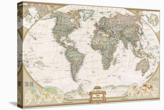 World Political Map, Executive Style-National Geographic Maps-Stretched Canvas Print