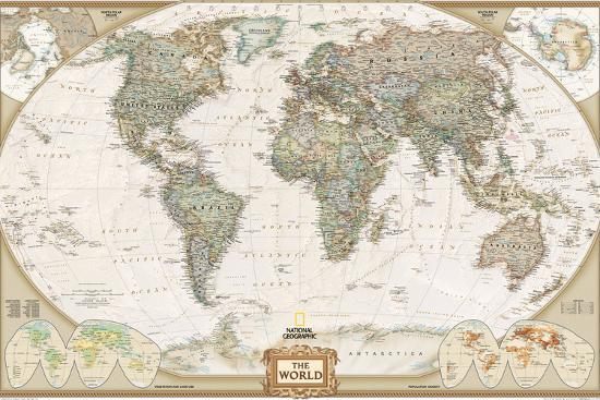 World Political Map, Executive Style-National Geographic Maps-Art Print