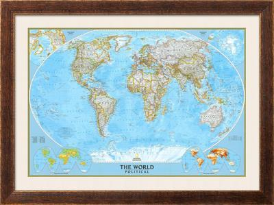 photo relating to World Political Map Printable identified as Environment Political Map Framed Artwork Print via