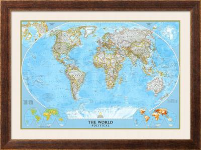 image about World Political Map Printable named Earth Political Map Framed Artwork Print as a result of