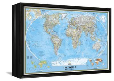 National Geographic World Political Map.World Political Map Framed Canvas Print By National Geographic Maps