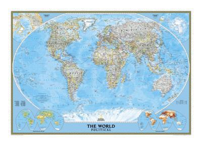 image about World Political Map Printable known as World-wide Political Map Artwork Print through Countrywide Geographic Maps