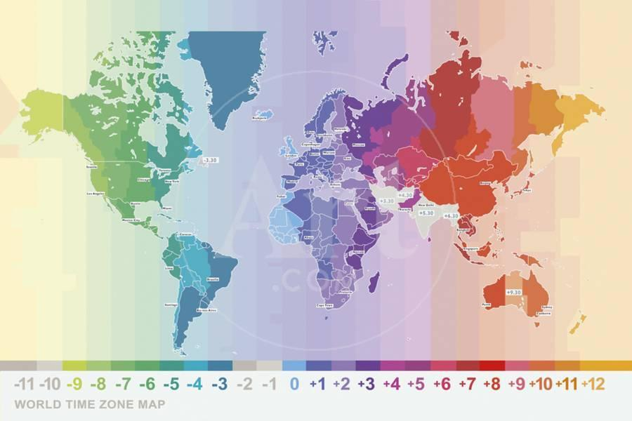 World Time Zone Map Giclee Print by Tom Frazier | Art.com
