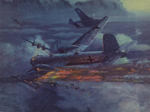 World War 2 German Heavy Bomber in Flight with Wing on Fire