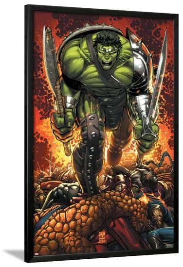 World War Hulk Prologue: World Breaker Cover: Hulk-John Romita Jr^-Lamina Framed Poster