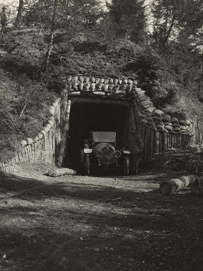 World War I: Car with Two Soldiers at the Entrance to a Bunker--Photographic Print