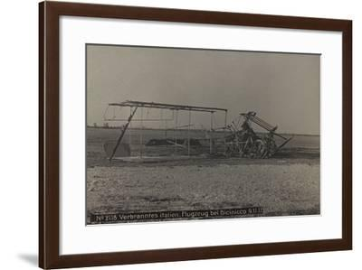 World War I: Carcass of a Plane Burned in Bicinicco, Photography of the Austro-Hungarian Empire--Framed Photographic Print