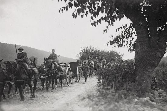 World War I: Command of the Artillery on the March to the War Front--Photographic Print
