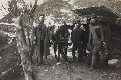 World War I: Italian Soldiers with a Donkey Near a Fountain on the Col Di Lana--Photographic Print