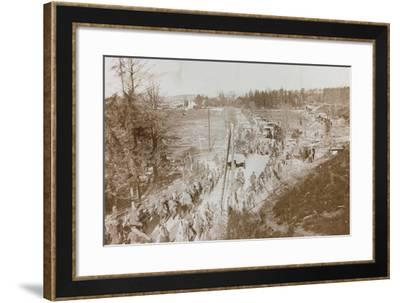 World War I: Marching Troops and Military Vehicles with Supplies in a War Zone--Framed Photographic Print