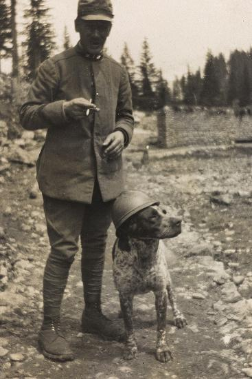 World War I: Portrait of Soldier with Dog--Photographic Print
