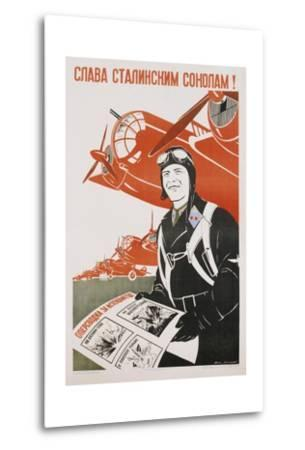 World War Ii-Era Soviet Poster Depicting a Pilot and Bombers