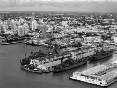 World War Ii-Era Warships Docked at the Port of Miami, C.1948--Photographic Print