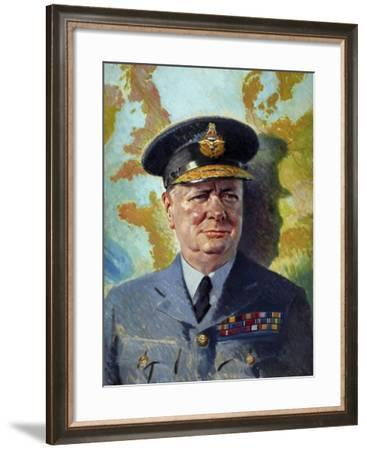 World War Ii Painting of Winston Churchill Wearing His Raf Uniform-Stocktrek Images-Framed Art Print