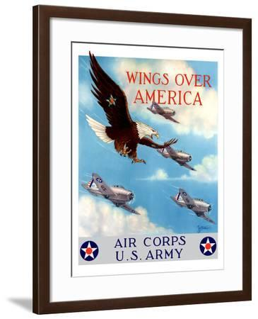 World War II Poster of a Bald Eagle Flying in the Sky with Fighter Planes-Stocktrek Images-Framed Photographic Print