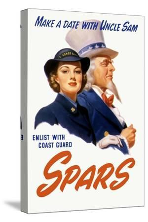 World War II Poster of a Female Coast Guard Cadet and Uncle Sam