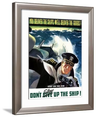 World War II Poster of a Navy Commander with Binoculars Aboard a Battleship-Stocktrek Images-Framed Photographic Print
