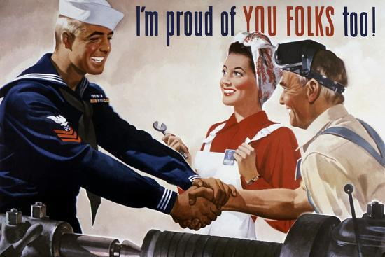 World War II Poster of a Sailor Shaking Hands with Factory Workers--Art Print
