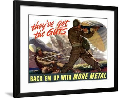 World War II Poster of Airborne Troops Parachuting Into Battle-Stocktrek Images-Framed Photographic Print