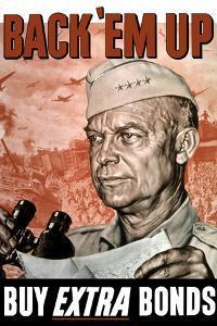 World War II Poster of General Dwight Eisenhower Holding a Map and Binoculars