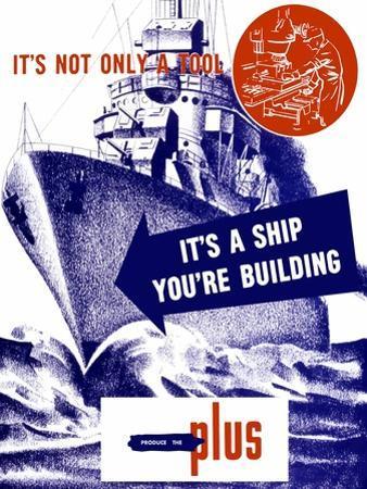 World War II Propaganda Poster Featuring a Battleship Out a Sea