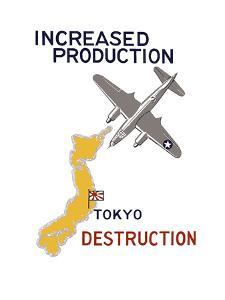 World War II Propaganda Poster Featuring a Bomber Flying over Japan