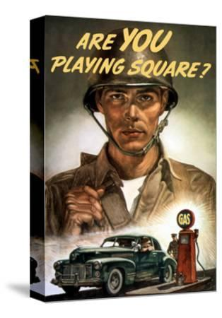 World War II Propaganda Poster of a Soldier Overlooking a Man at the Gas Pump